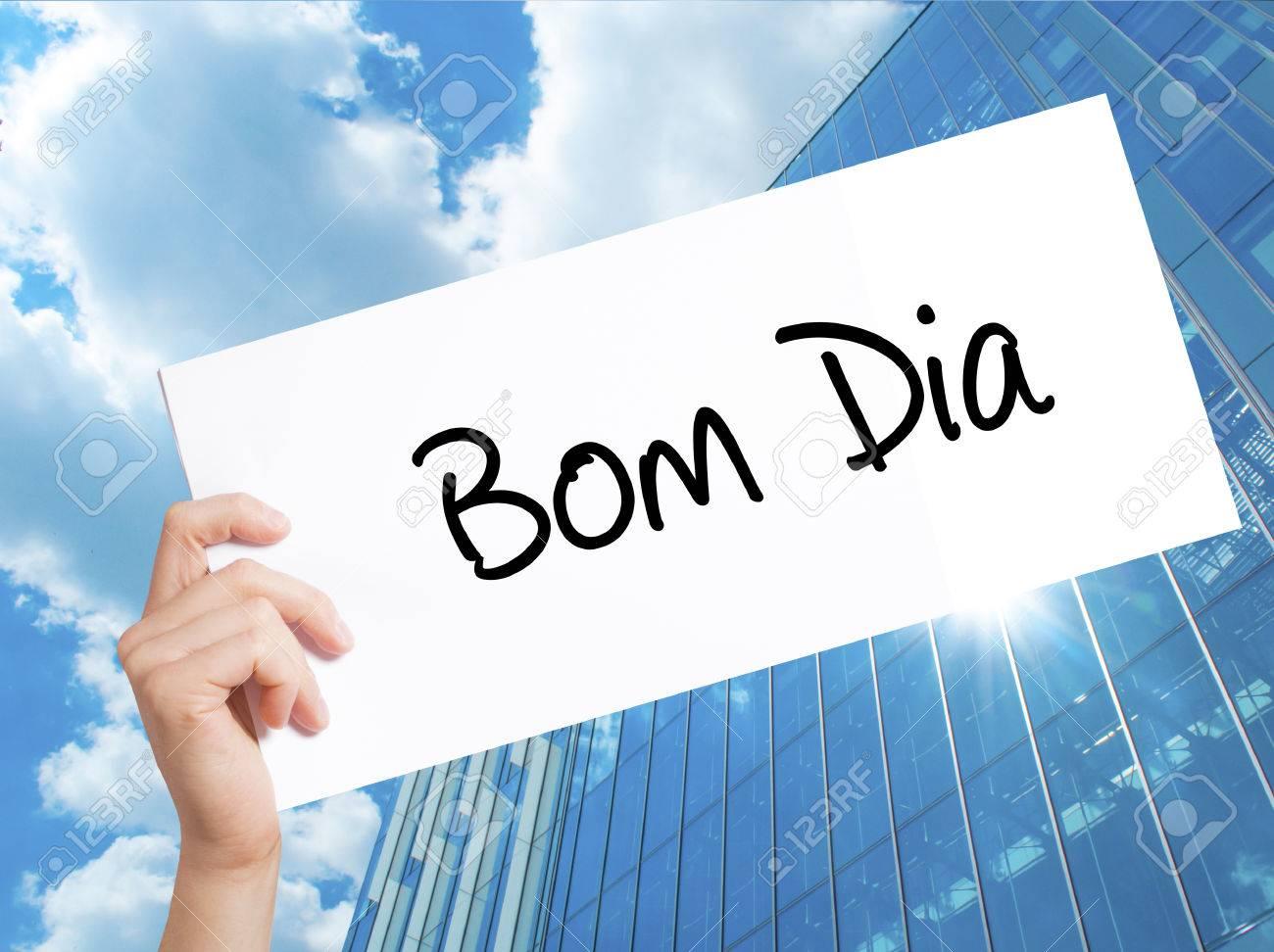 Bom Dia In Portuguese Good Morning Sign On White Stock Photo