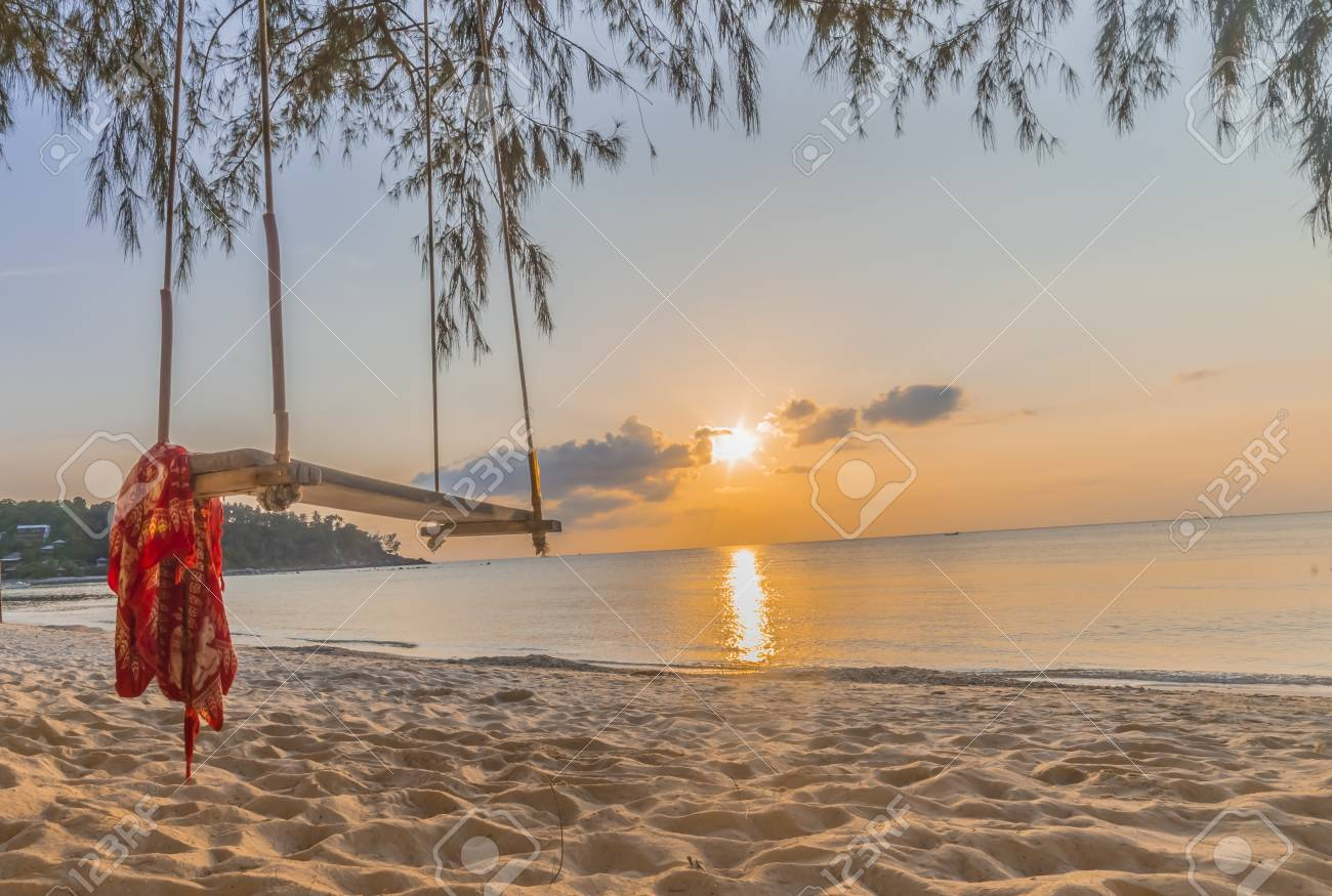 Wooden Swing Hanging Under The Tree Thailand Wooden Swing On