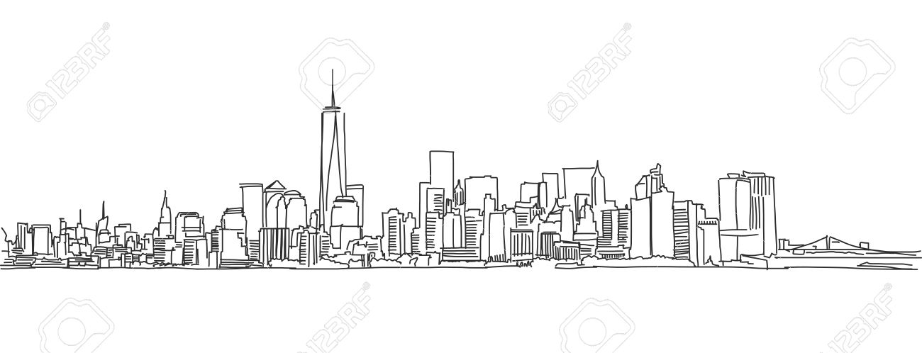 Free Hand Sketch Of New York City Skyline. Vector Outline Scribble ...