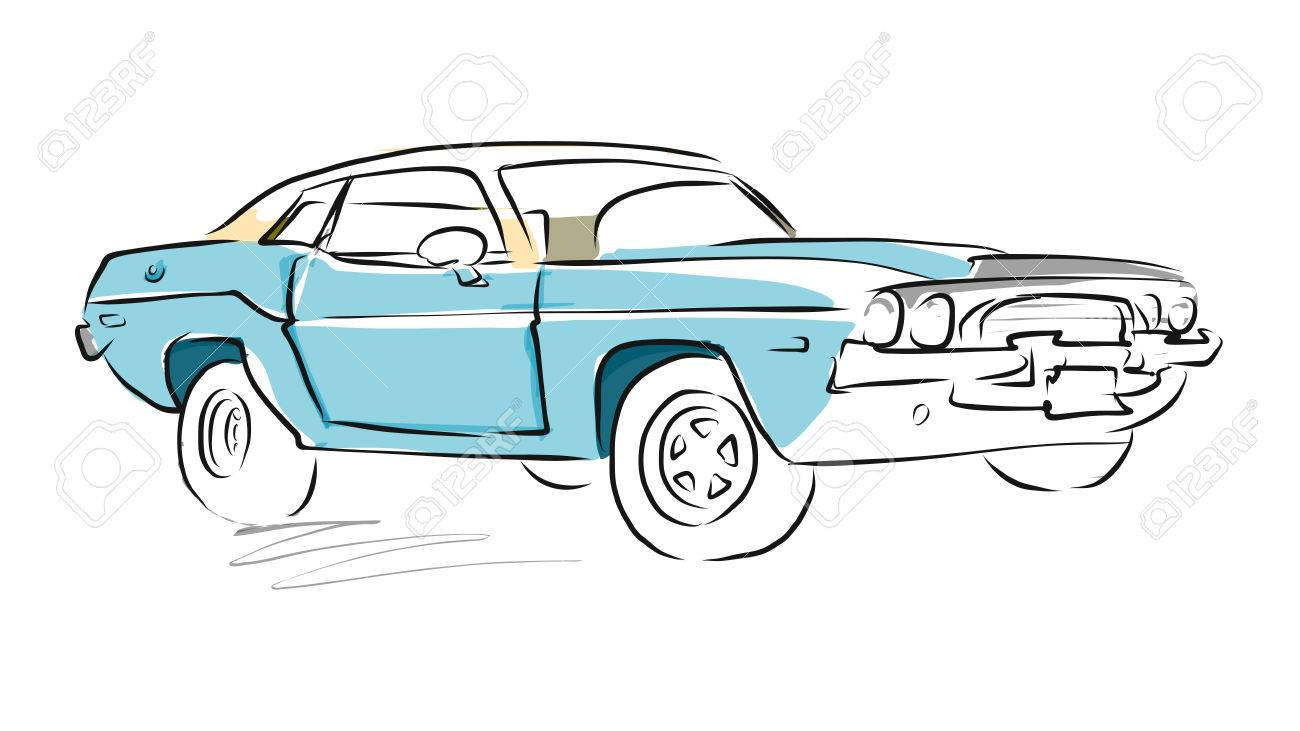 Muscle Car Sketch Vector Drawing Separated On White Royalty Free
