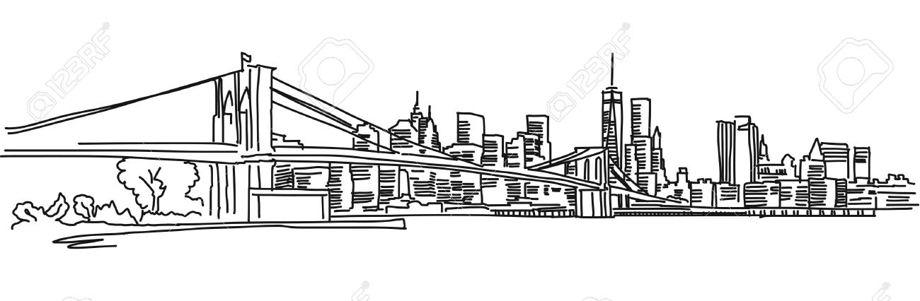 New York Panorama with brooklyn bridge, Vector outline Sketch - 55080981