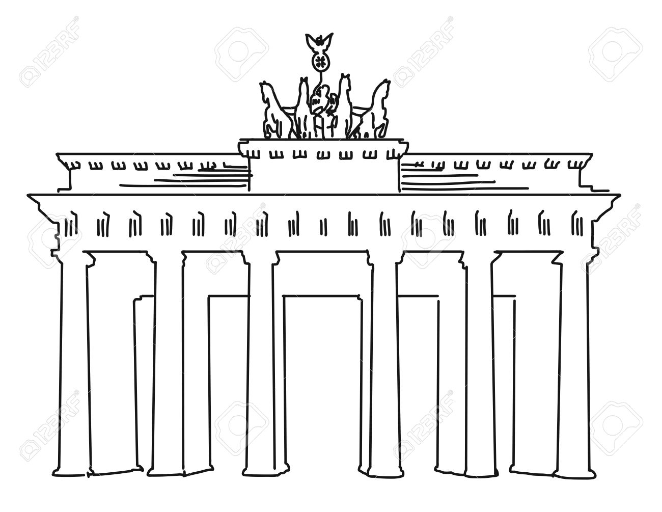 Brandenburger Gate Berlin Vector Outline Artwork Separated Royalty Free Cliparts Vectors And Stock Illustration Image 55803394