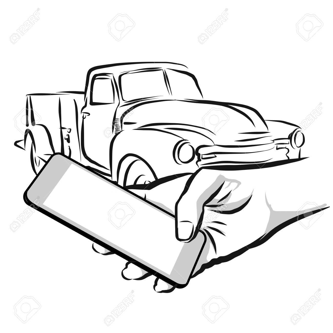 Car Rental Service Via Cellphone App Concept Design Vector Outline Royalty Free Cliparts Vectors And Stock Illustration Image 58705660