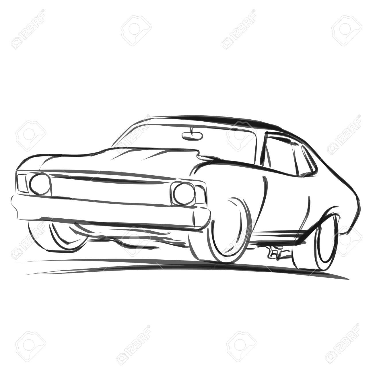 Old Muscle Car Outline Sketch Vector Artwork Royalty Free Cliparts