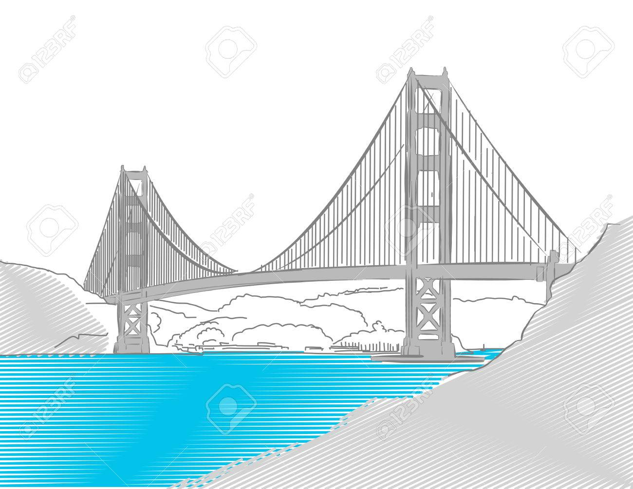 Golden Gate Bridge, San Francisco, Colored Sketch, Hand-drawn Vector Artwork - 58706507