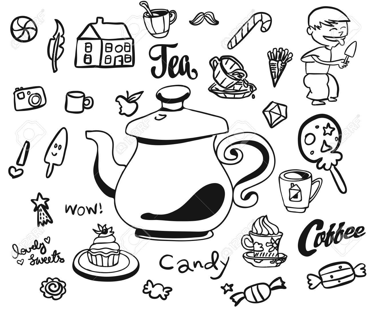 Afternoon tea and breakfast doodles with symbols for kids hand afternoon tea and breakfast doodles with symbols for kids hand drawn sketches usable for buycottarizona