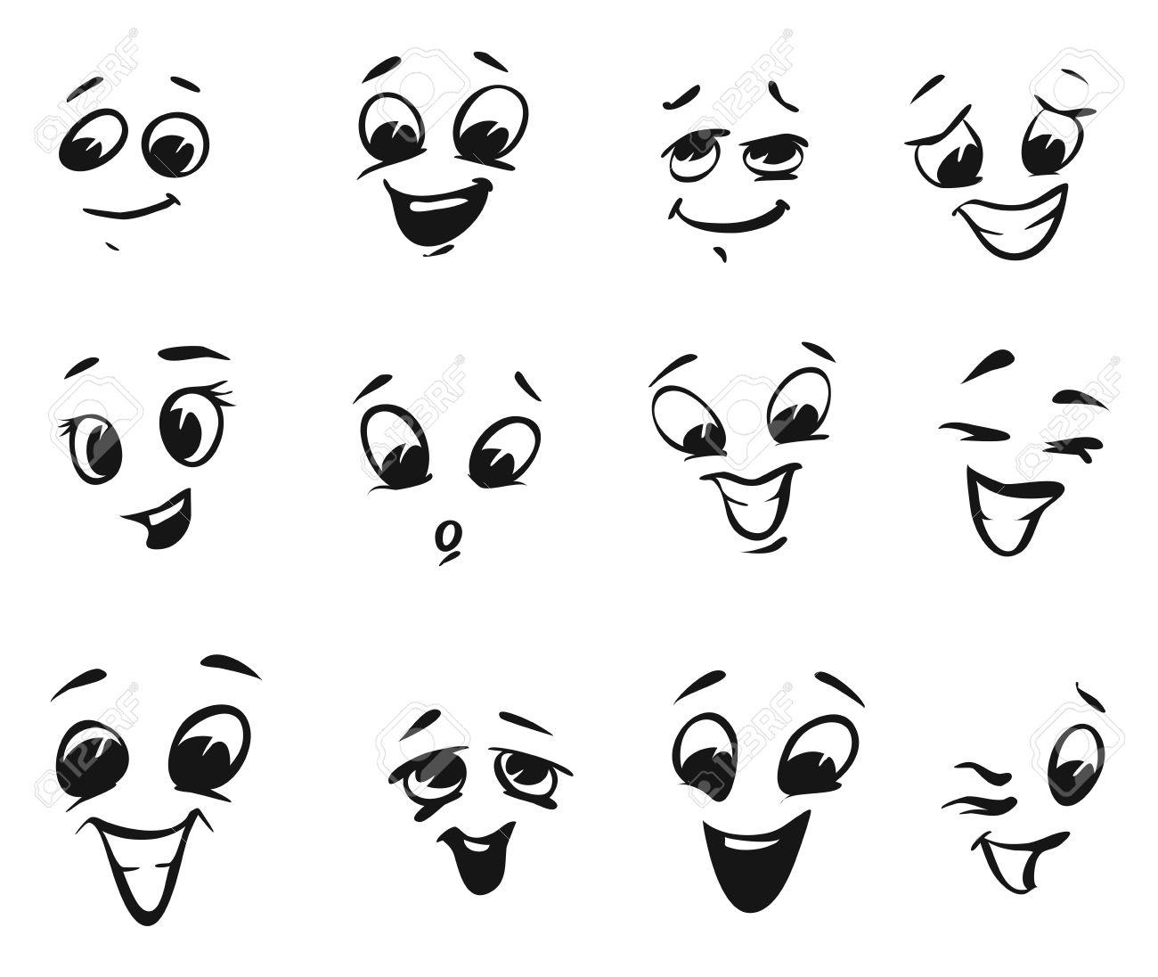 happy smiling and laughing cartoon faces tiny illustrations rh 123rf com happy faces cartoon pics happy cartoon faces clip art