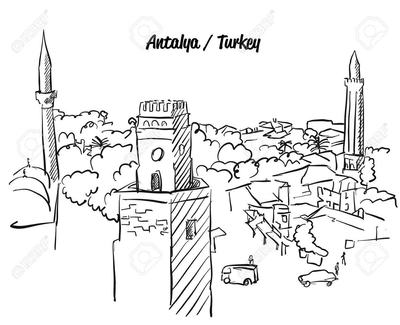 Antalya Türkei Altstadt Färbung Seite, Berühmte Reiseziel Zeichen ...
