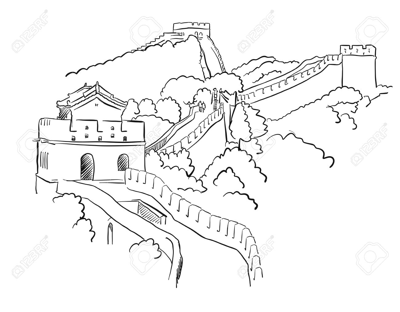 Coloring sheet great wall of china - China Great Wall Vector Sketch Famous Destination Landmark Hand Drawn Outline Artwork Stock Vector
