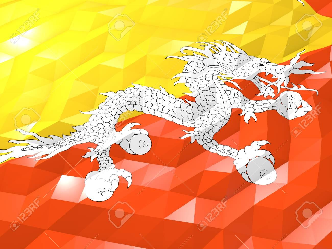 Drapeau Du Bhoutan Fond Décran 3d Illustration Symbole National Low Style Origami Glossy Polygonal