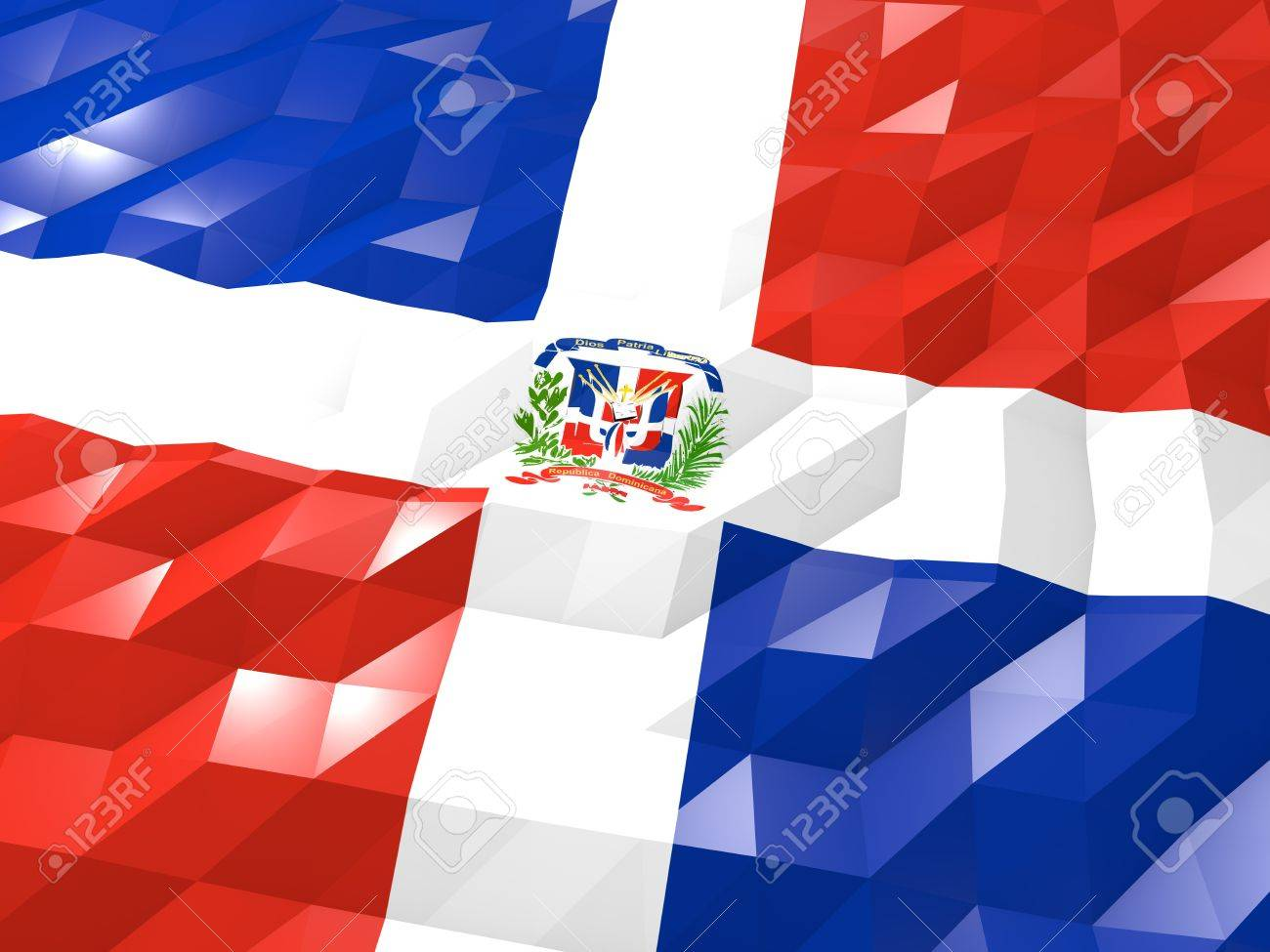 Flag of Dominican Republic 3D Wallpaper Illustration, National Symbol, Low Polygonal Glossy Origami Style