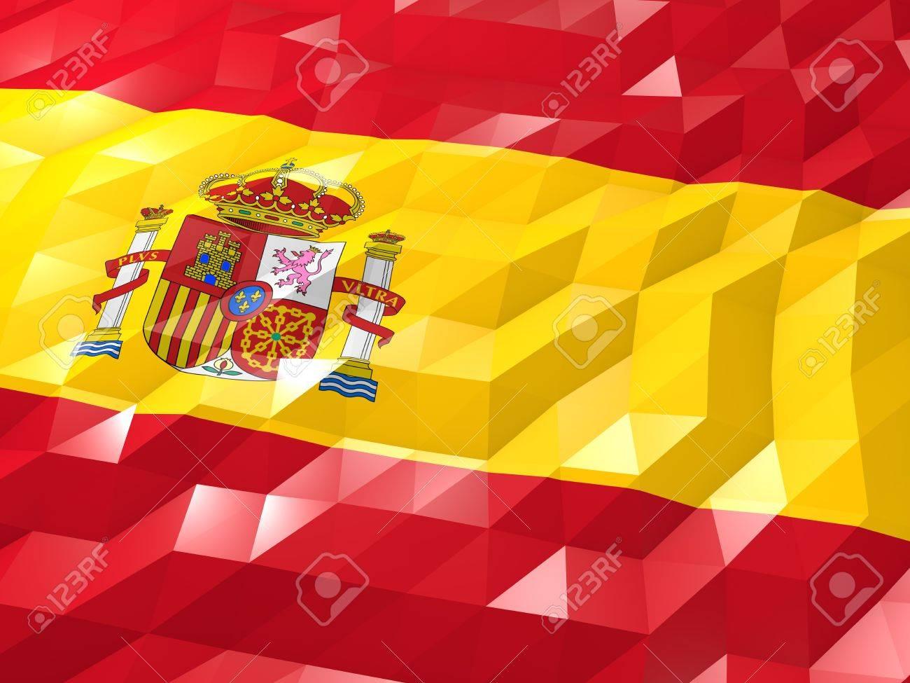 スペインの 3 D 壁紙イラスト 国の象徴 低多角形の光沢のある折り紙スタイルの旗 の写真素材 画像素材 Image