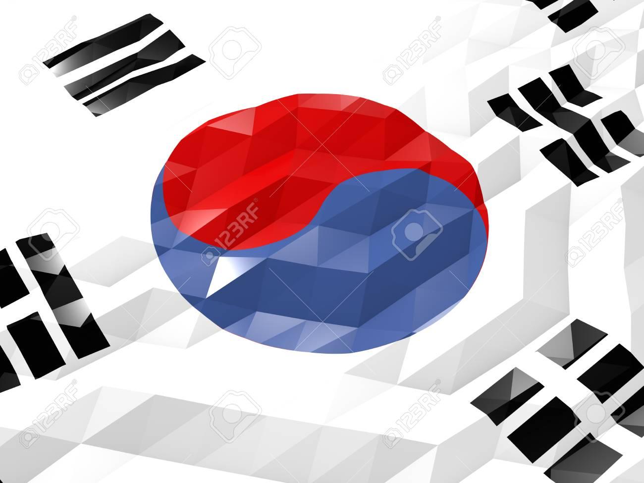 Flag Of South Korea 3d Wallpaper Illustration National Symbol