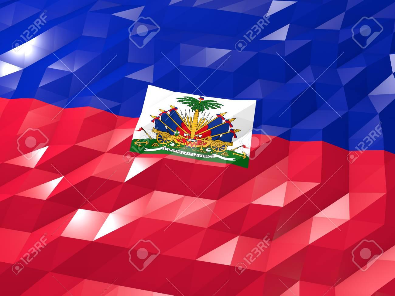 Flag Of Haiti 3D Wallpaper Illustration National Symbol Low Polygonal Glossy Origami Style Stock