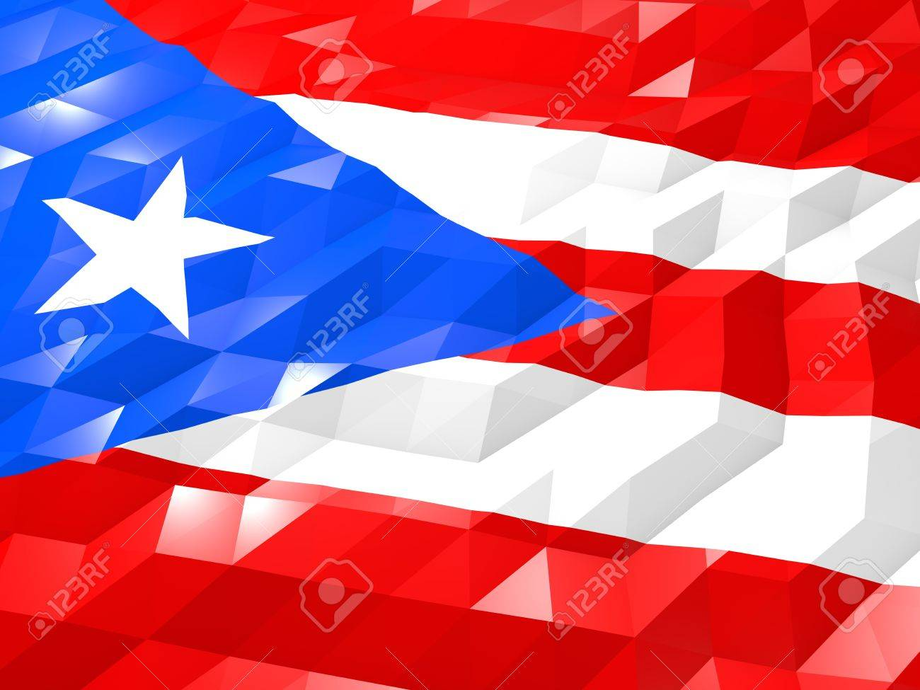 Flag Of Puerto Rico 3d Wallpaper Illustration National Symbol