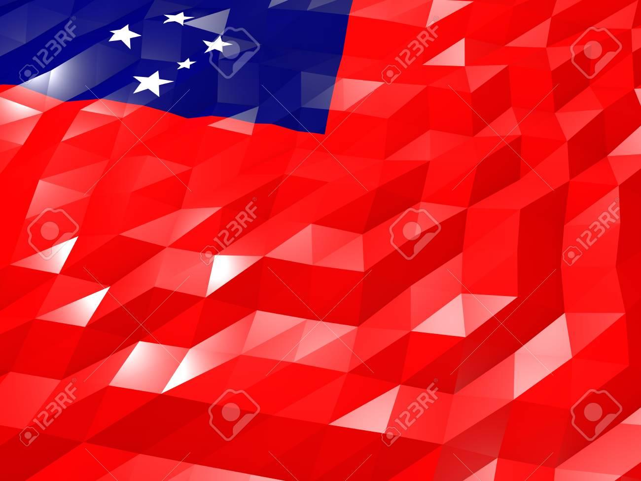 Flag Of Samoa 3D Wallpaper Illustration National Symbol Low Polygonal Glossy Origami Style Stock