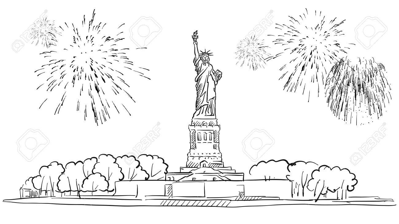 花火のイラスト手描きのアウトラインのアートワークが自由の女神像の
