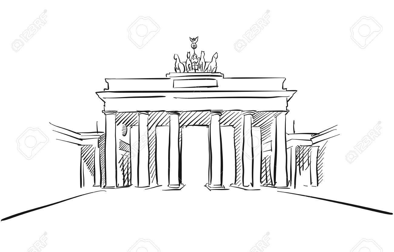 Berlin Brandenburger Tor Grusskarte Skizze Von Hand Gezeichnete Umriss Grafik Illustration Tor Lizenzfreie Fotos Bilder Und Stock Fotografie Image 63441654