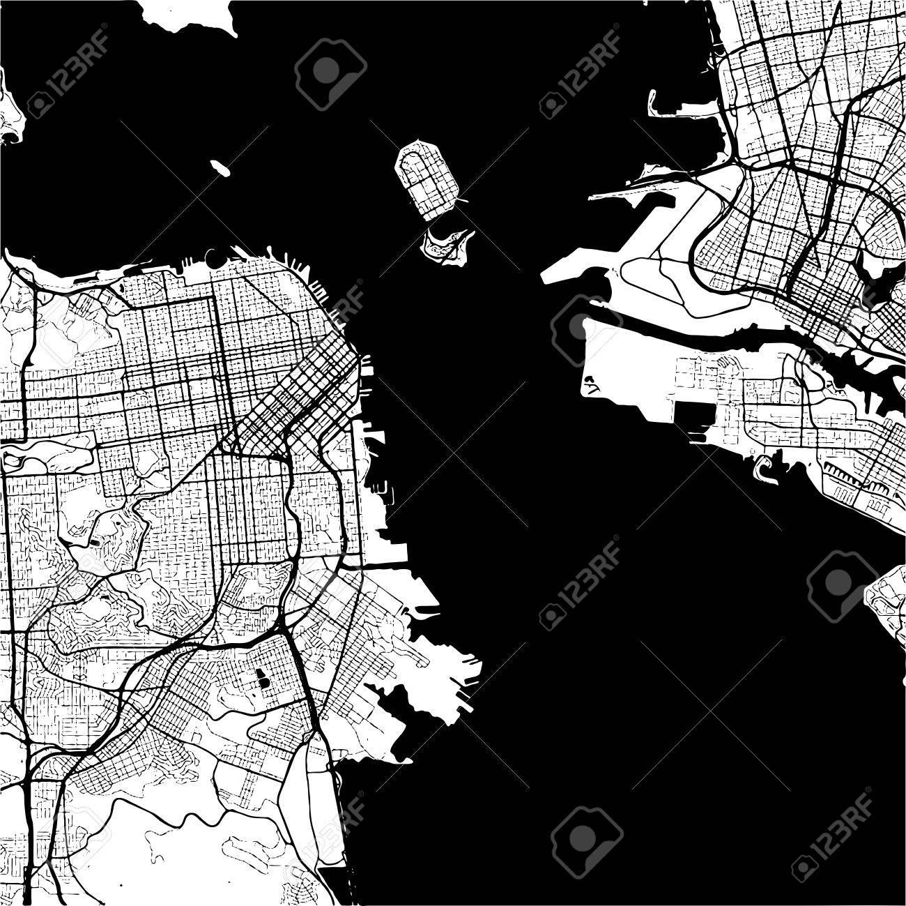 San Francisco USA Monochrome Map Artprint Outline Version