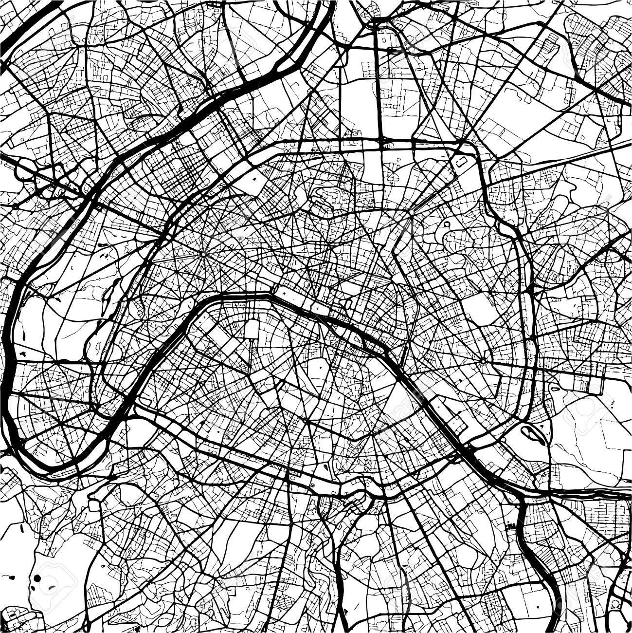 Paris France Monochrome Map Artprint Outline Version Ready - Paris map outline