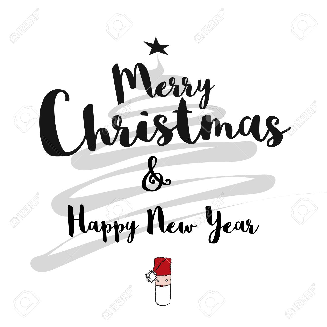 merry christmas and happy new year card hand drawn vector sketch artwork stock