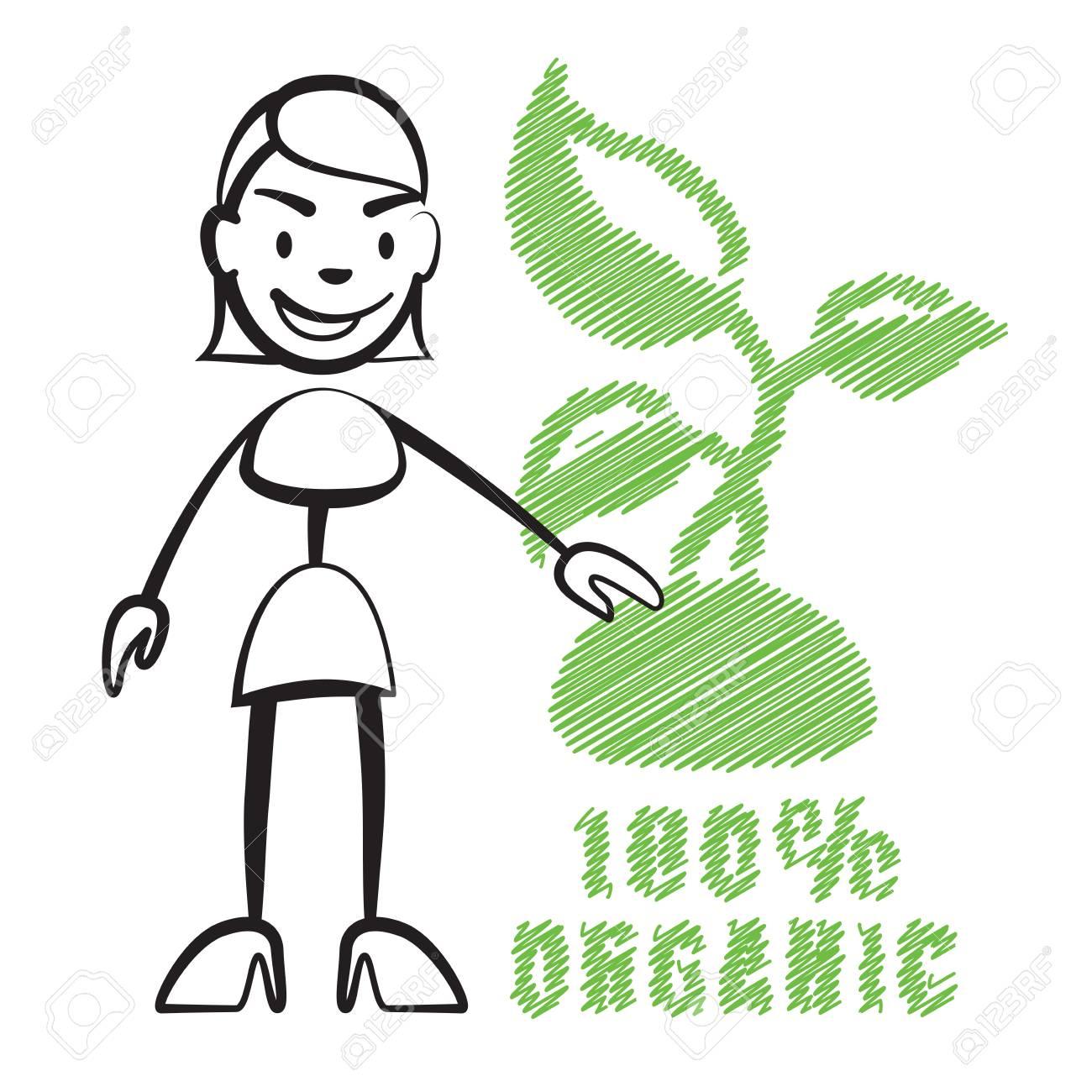 Strichmännchen Frau Mit Dem Symbol 100 Organic Stickman Vektor