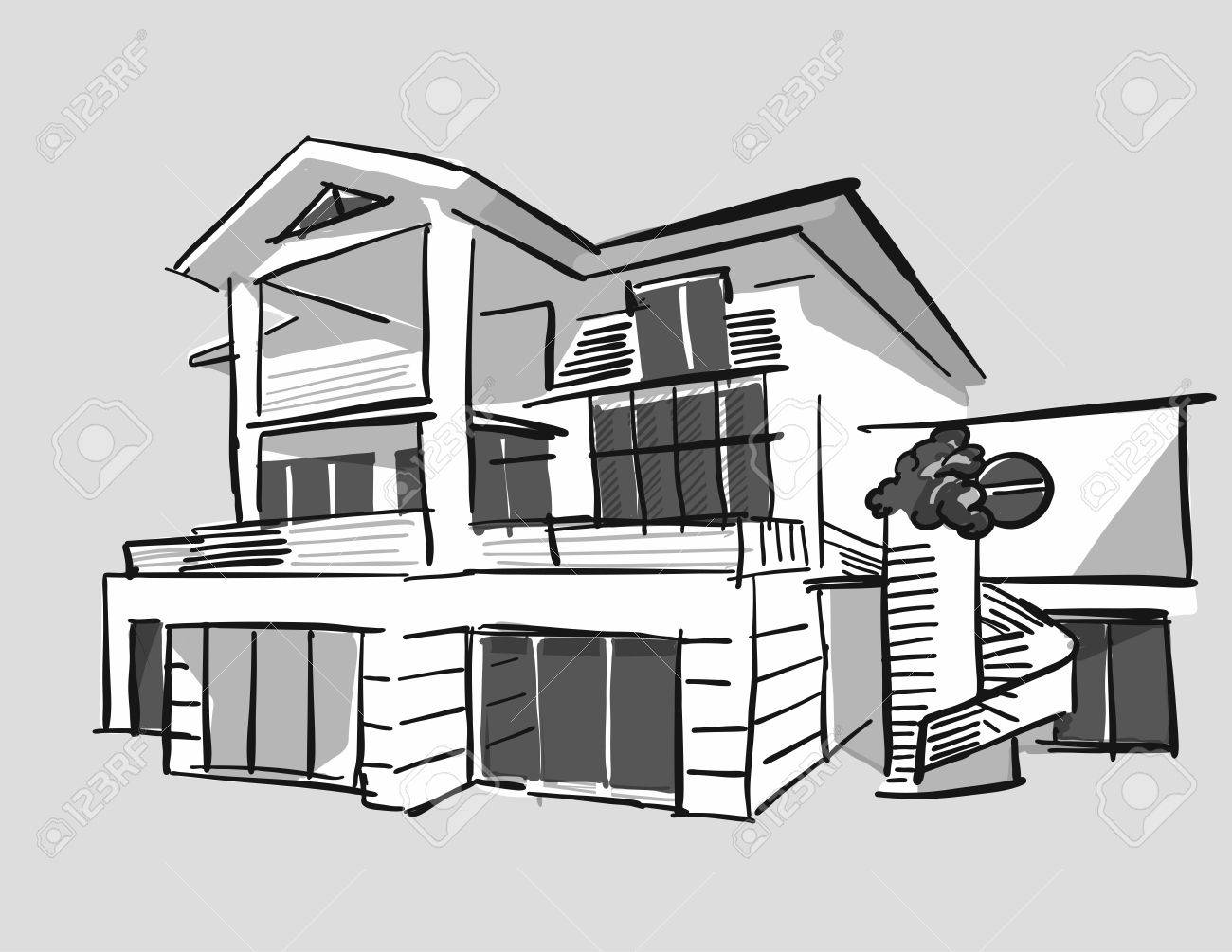 Grayscale Drawing Dream House Hand Drawn Vector Outline Black Pen On White Ground Stock