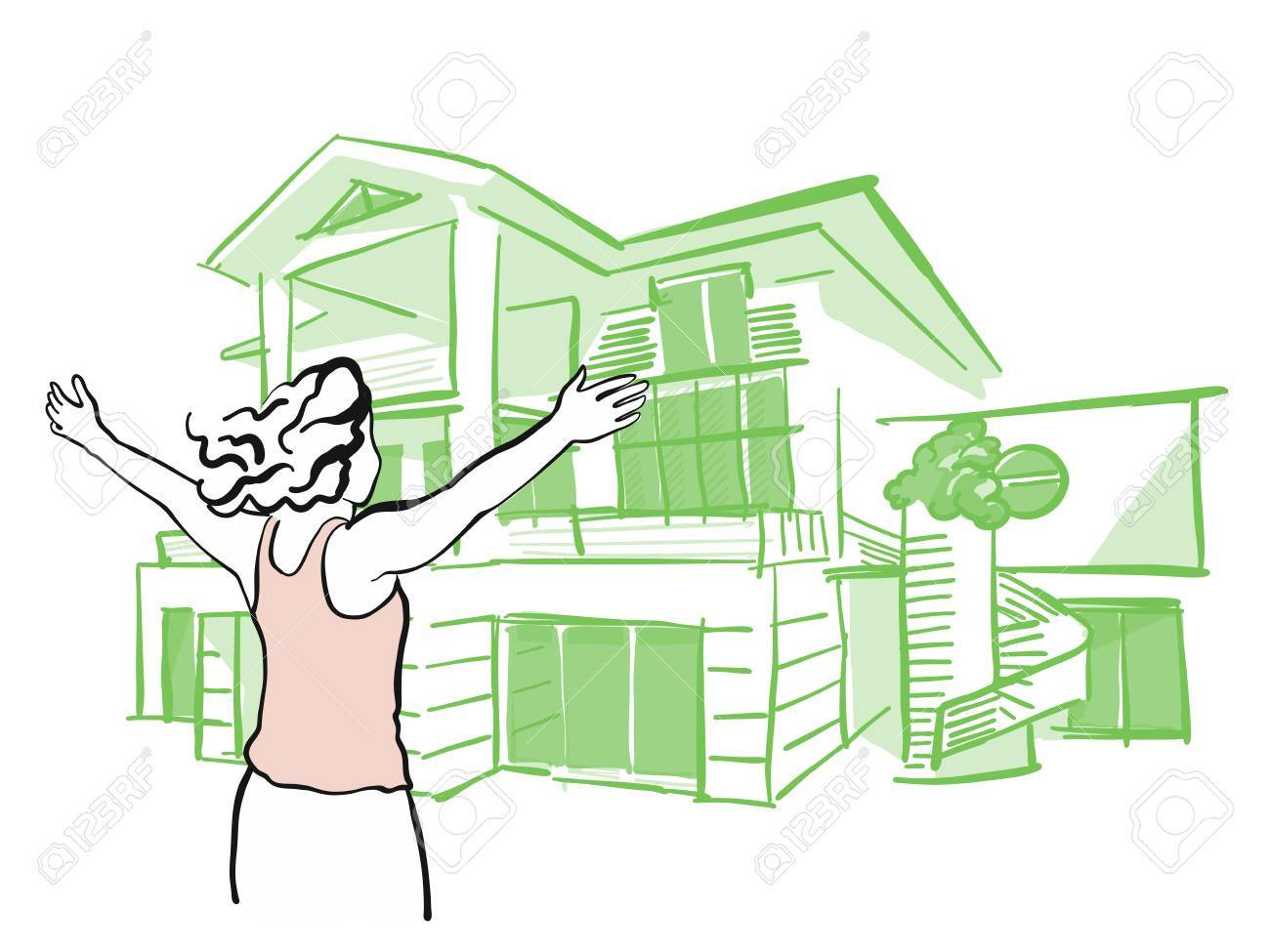 Woman Is Pulling Arms Upwards In Front Of Dream House Hand Drawn