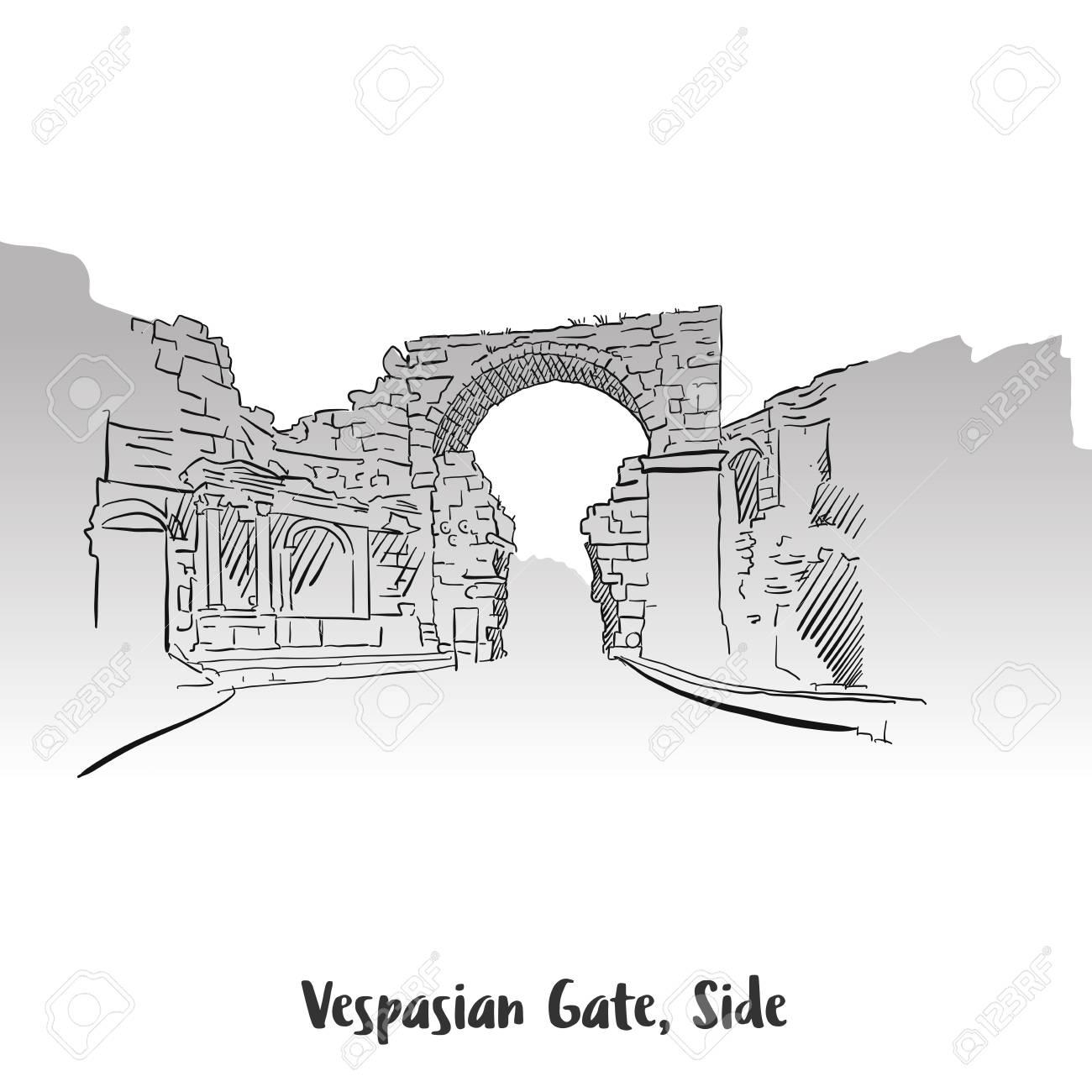 vaspasian gate side print design hand drawn vector outline rh 123rf com Fence Vector Fence Vector