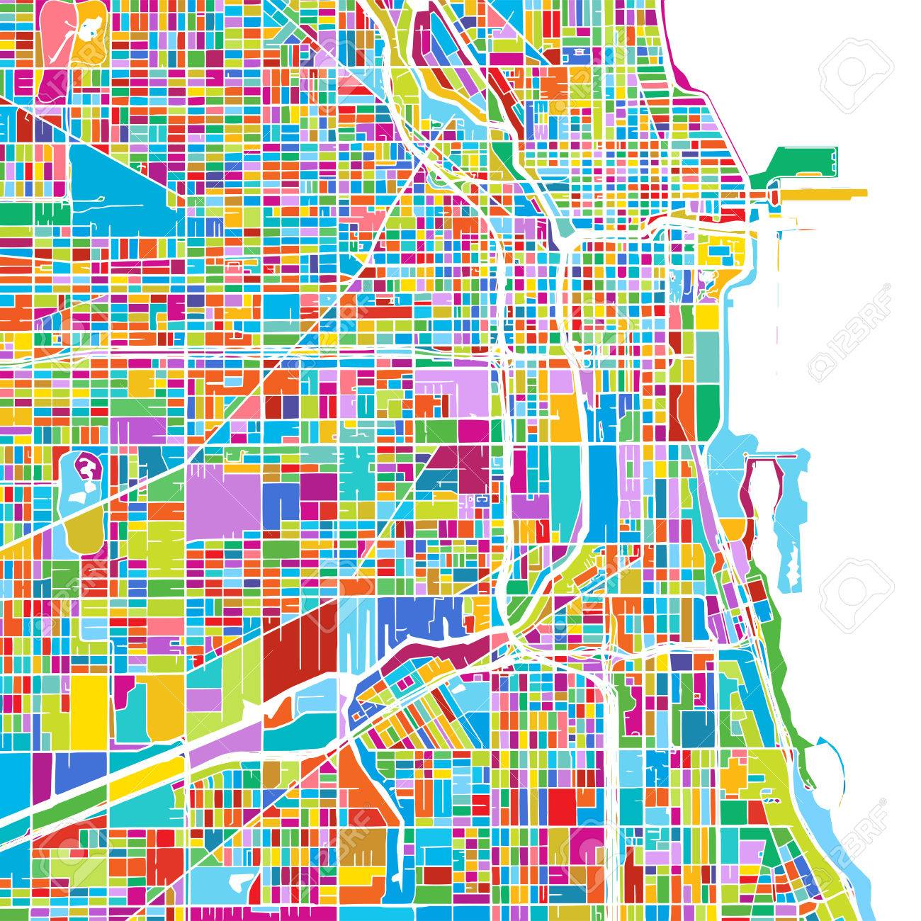 Chicago USA Colorful Vector Map Printable Outline Version