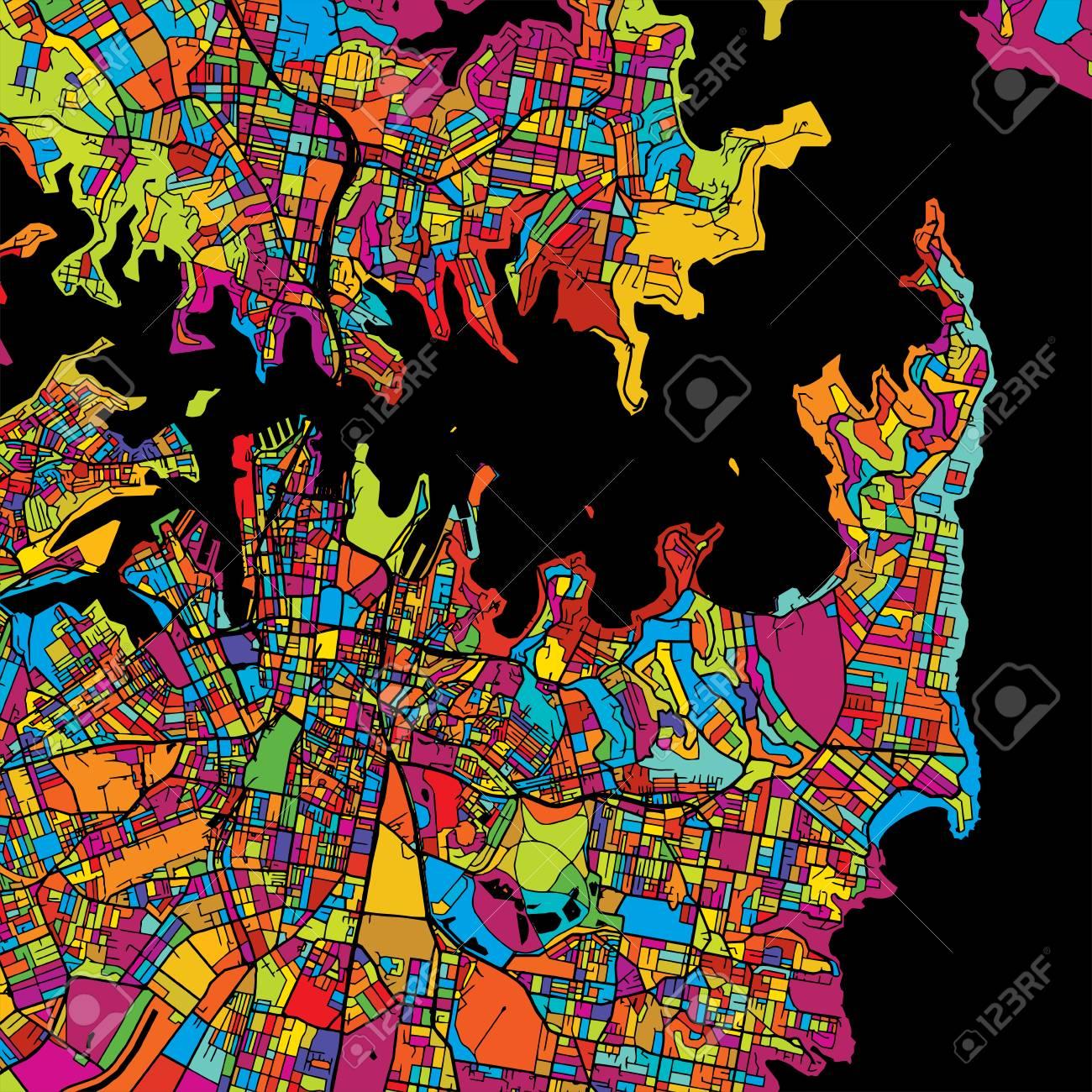 Sydney Colorful Vector Map On Black, Artprint. Printable Outline ...