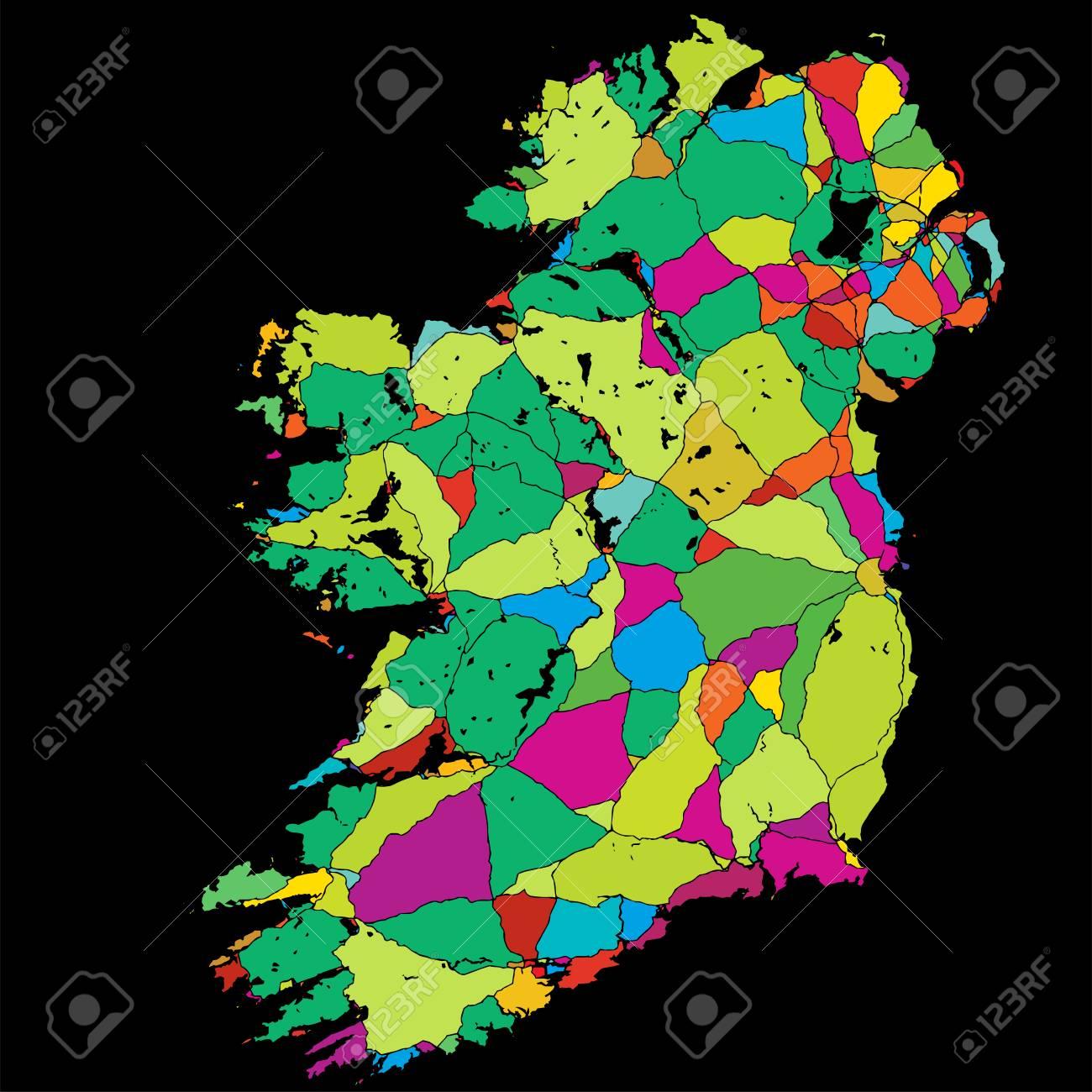 Super Ireland Colorful Vector Map On Black Printable Outline Version Download Free Architecture Designs Scobabritishbridgeorg