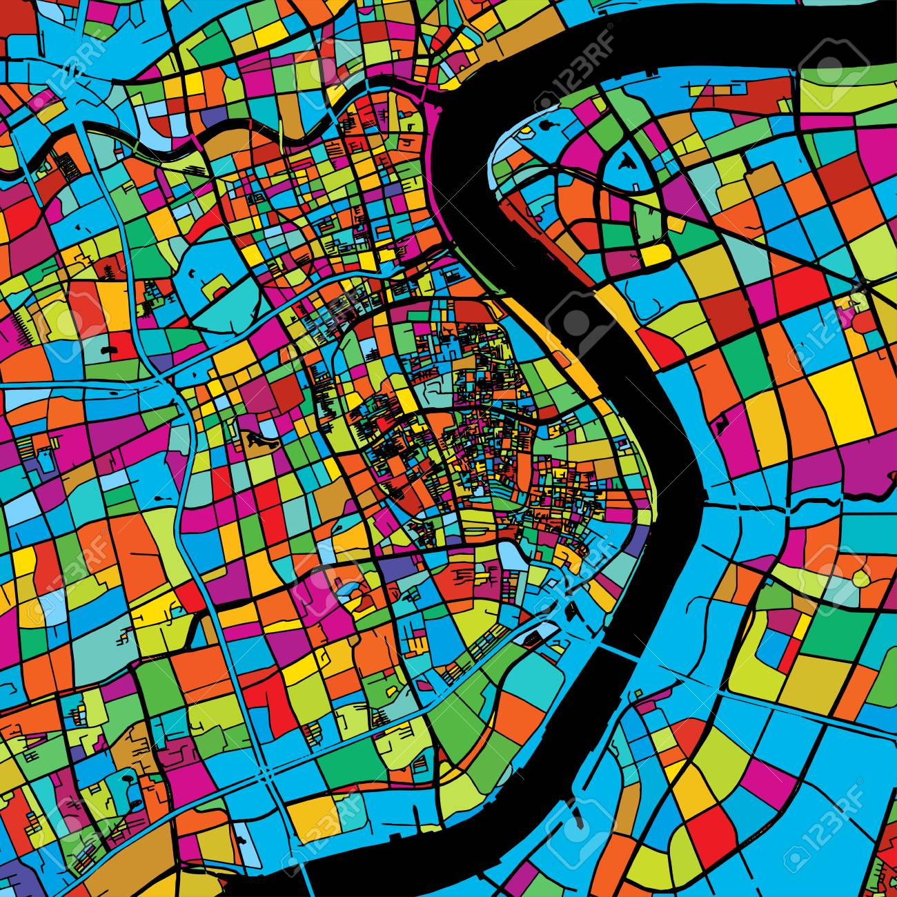 Image of: Shanghai China Colorful Vector Map On Black Printable Outline Royalty Free Cliparts Vectors And Stock Illustration Image 74220804