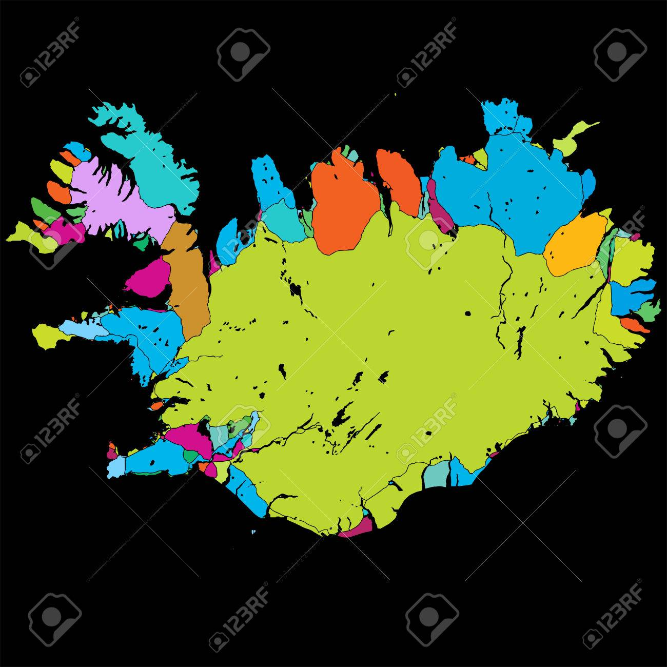 photo relating to Printable Iceland Map named Iceland Island Vibrant Vector Map upon Black, printable determine..