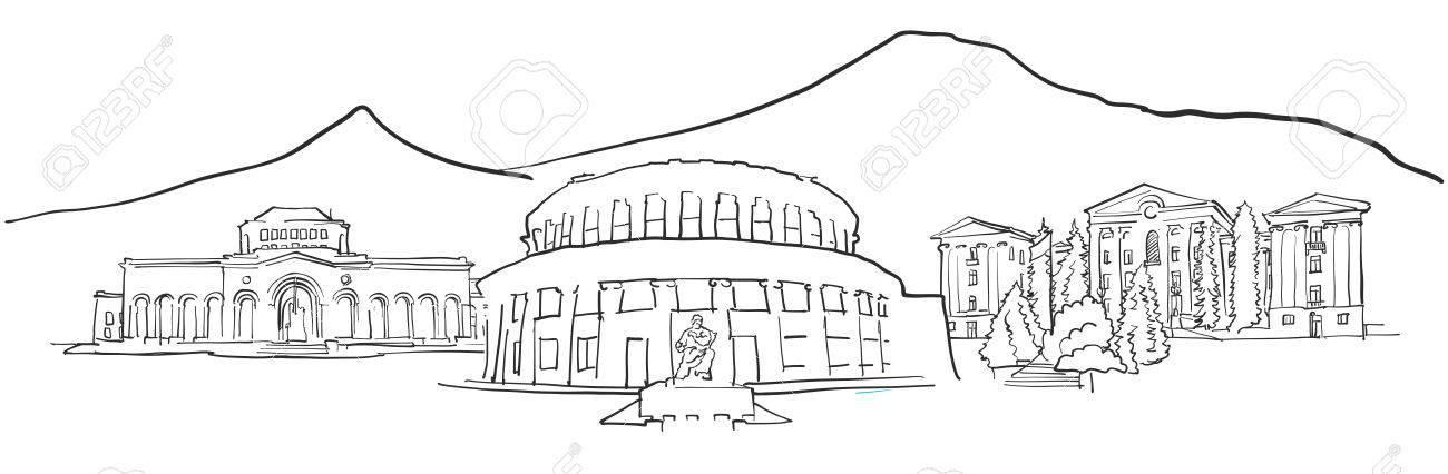 Eriwan Armenien Panorama Skizze Einfarbige Stadtische Stadtlandschaft Vektorgrafiken Lizenzfrei Nutzbare Vektorgrafiken Clip Arts Illustrationen Image 75330422