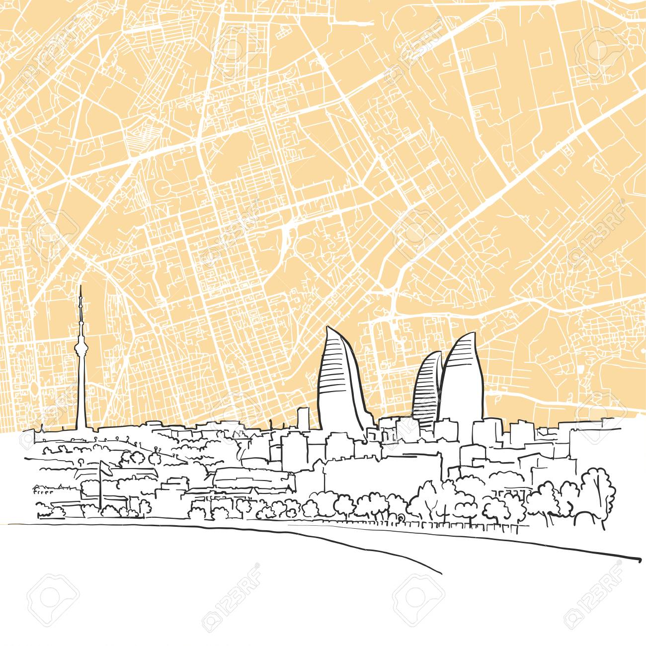 Baku Aserbaidschan Karte.Stock Photo