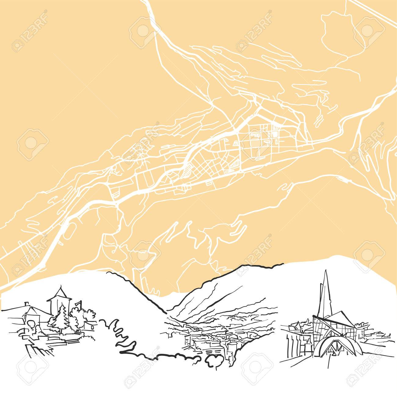 Andorra La Vella Background Map One Color Scalable Vector Art