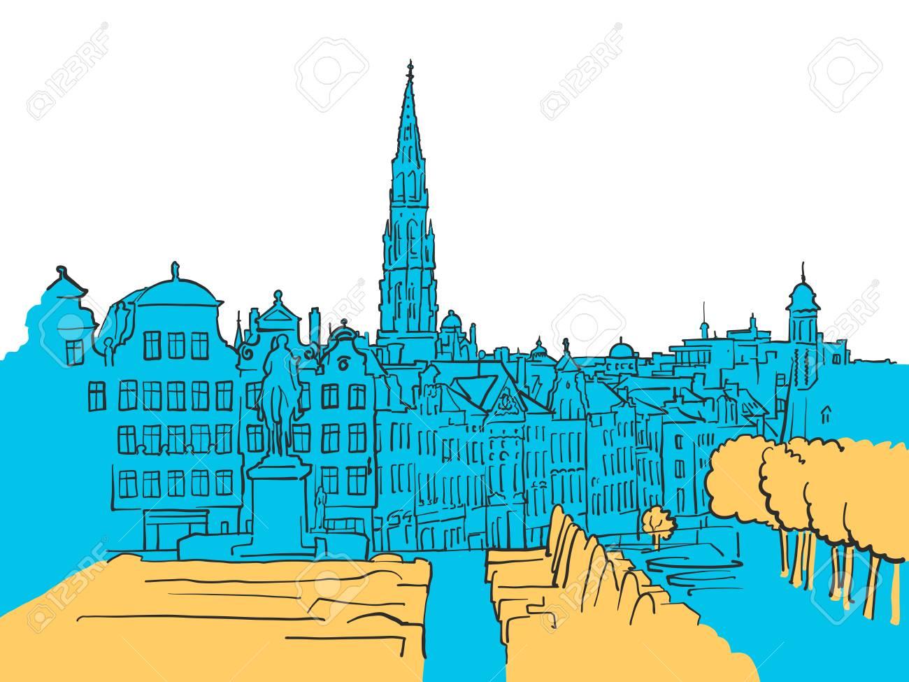 ベルギー ブリュッセルの色青い図形と黄色のハイライト シーンベクトル
