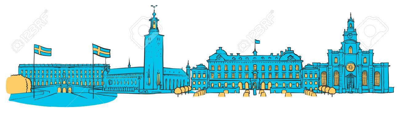 ストックホルム パノラマ満ちている青い図形黄色のハイライトの色