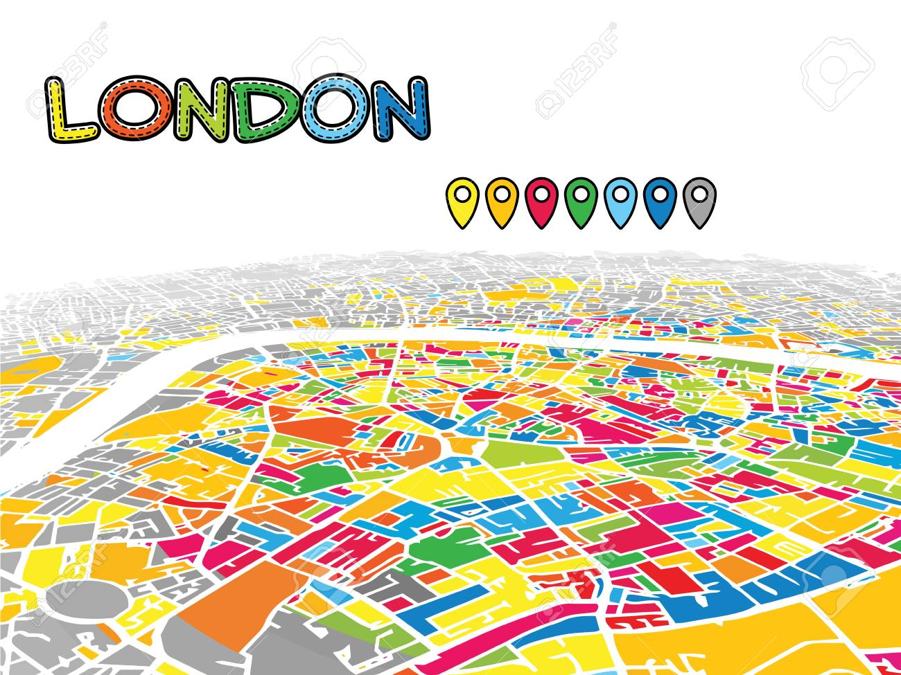Full Map Of London.London United Kingdom Downtown 3d Vector Map Of Famous Streets