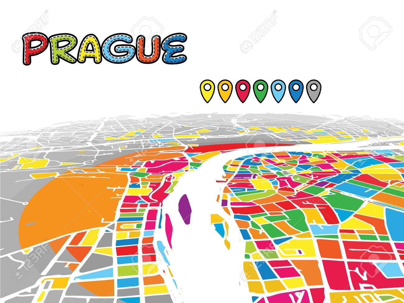 Prague, Czech Republic, Downtown 3D Vector Map Of Famous Streets ...