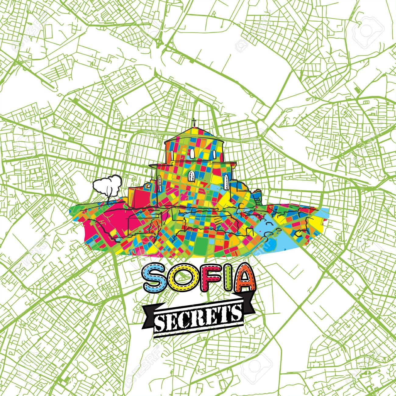 Sofia Travel Secrets Art Map For Mapping Experts And Travel Guides
