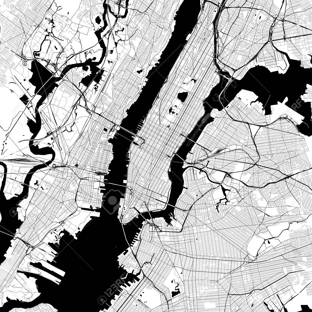 Free Map Of New York City.New York City Monochrome Vector Map Very Large And Detailed