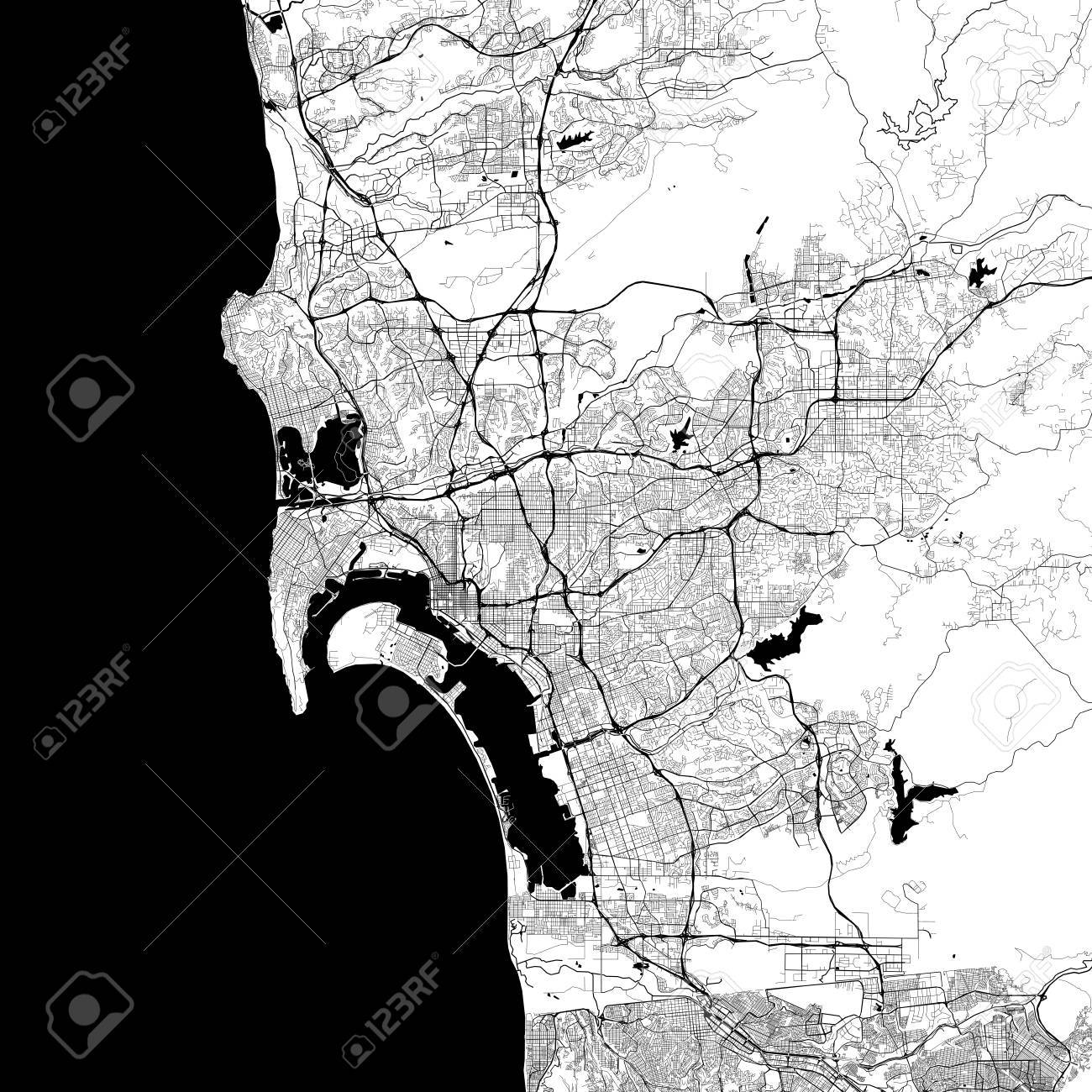 San Diego Monochrome Vector Map Very Large And Detailed Outline