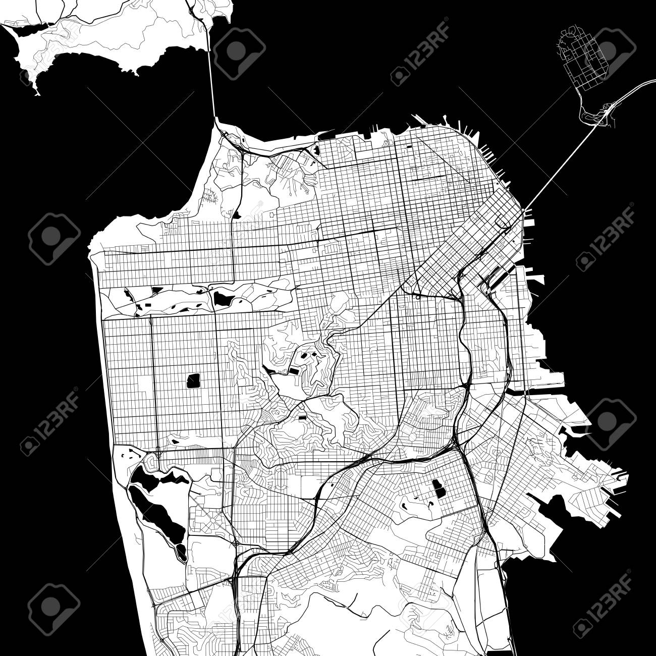 San Francisco Monochrome Vector Map. Very large and detailed outline Version on White Background. Black Highways and Railroads, Grey Streets, Blue Water. - 83803245
