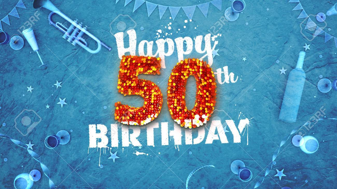 Happy 50th Birthday Card With Beautiful Details Such As Wine Bottle Champagne Glasses Garland Pennant Stars And Confetti Blue Background Red