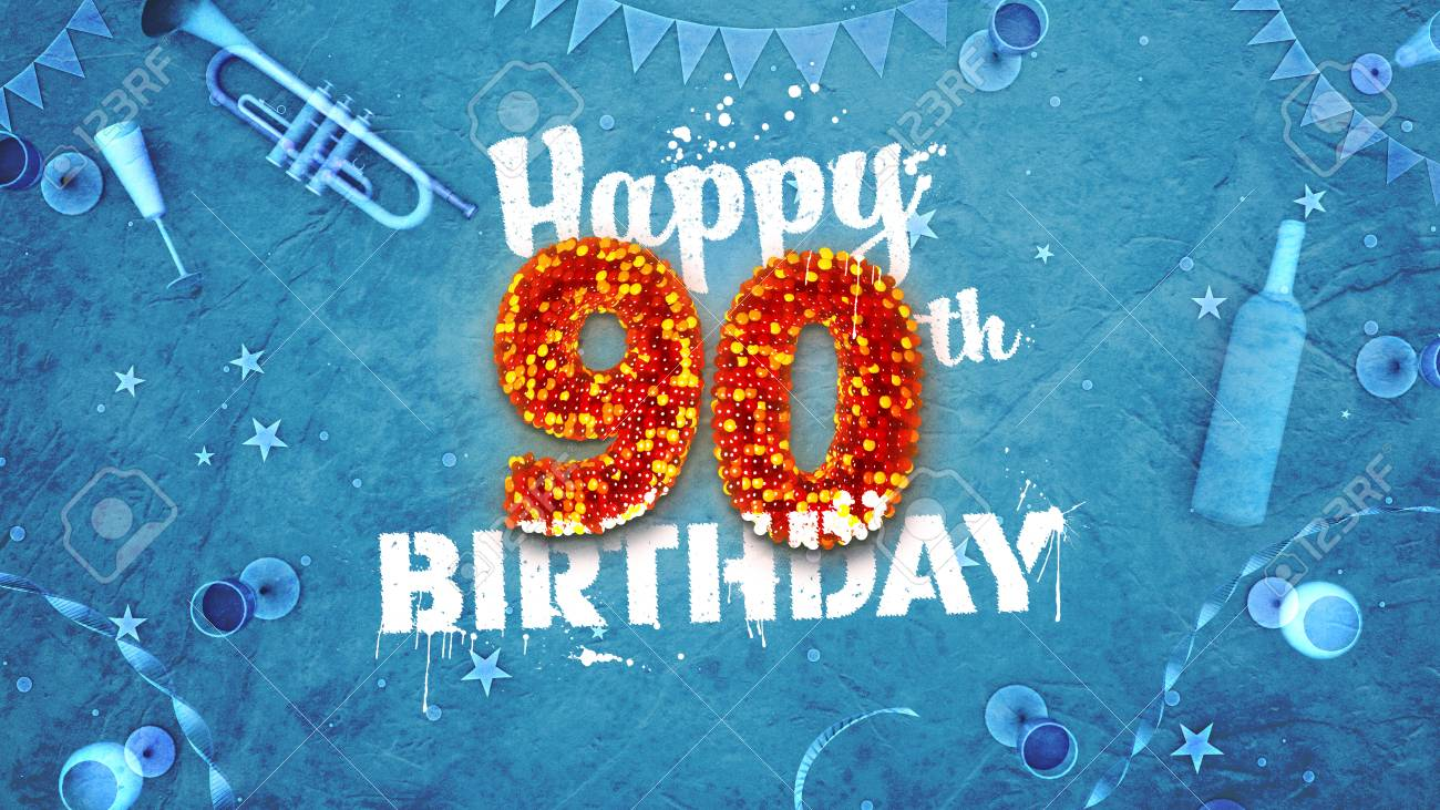 Happy 90th Birthday Card With Beautiful Details Such As Wine Bottle Champagne Glasses Garland
