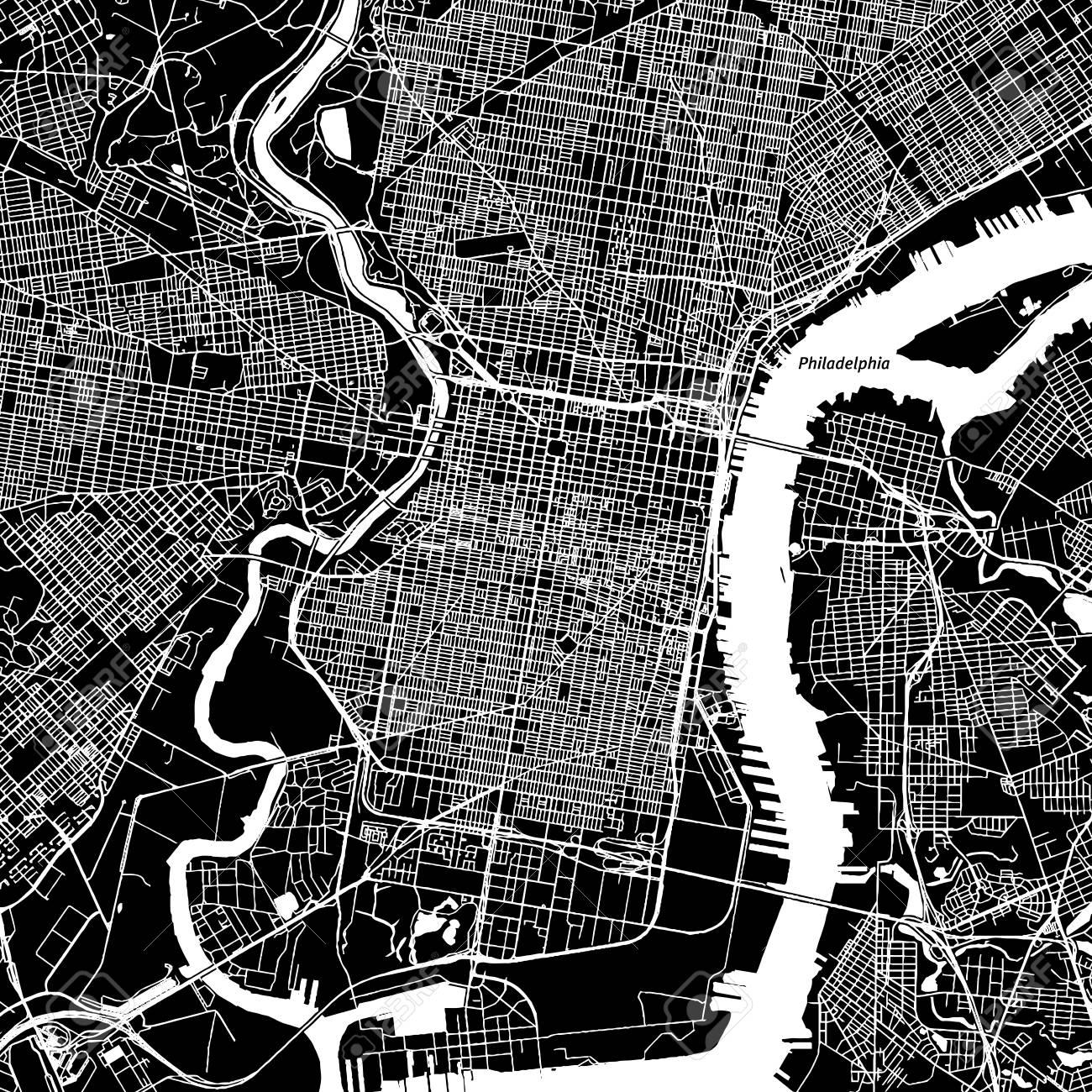Philadelphia pennsylvania downtown vector map city name on philadelphia pennsylvania downtown vector map city name on a separate layer art freerunsca Gallery