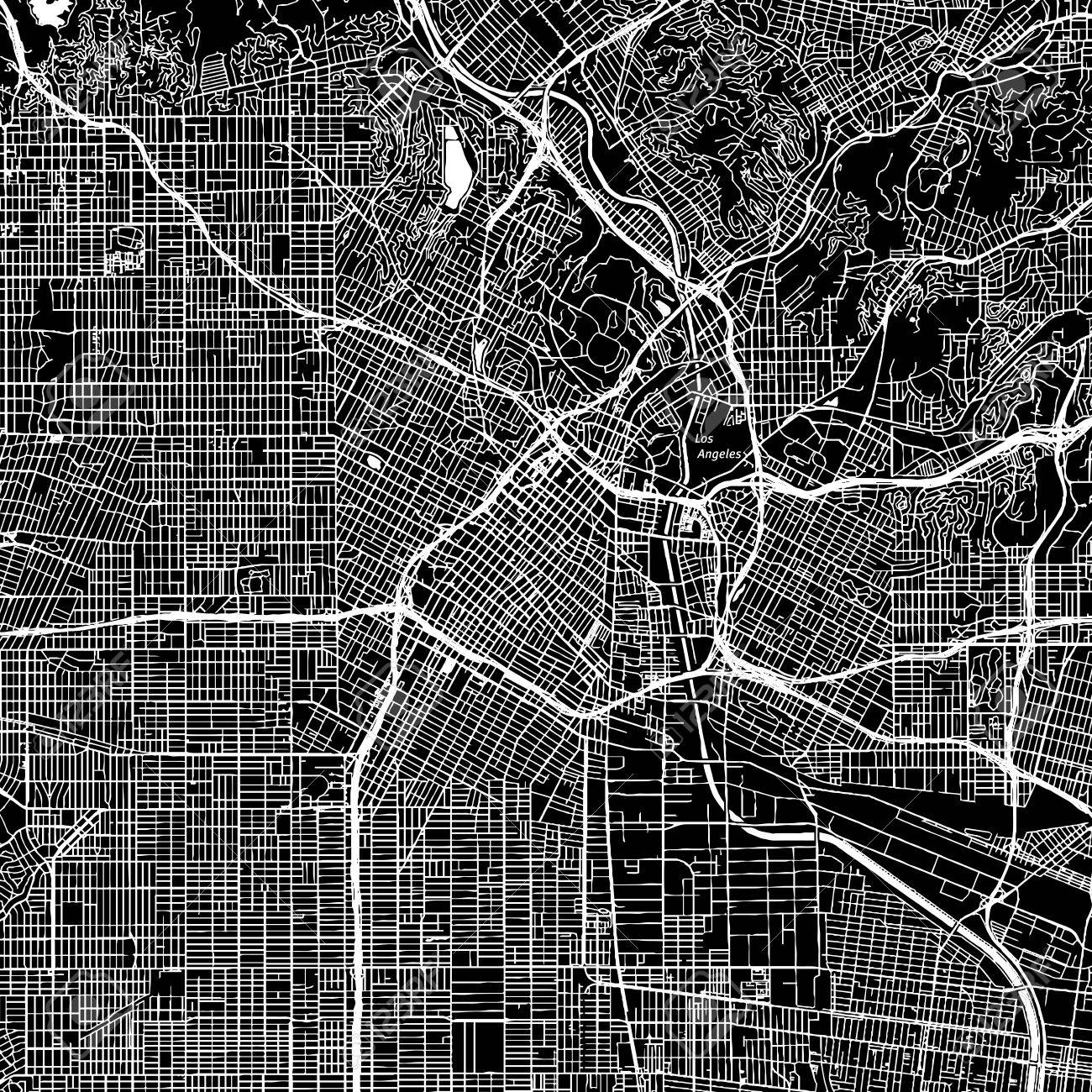 picture about Printable Map of Los Angeles known as Los Angeles, California. Downtown vector map. Metropolis track record upon a..