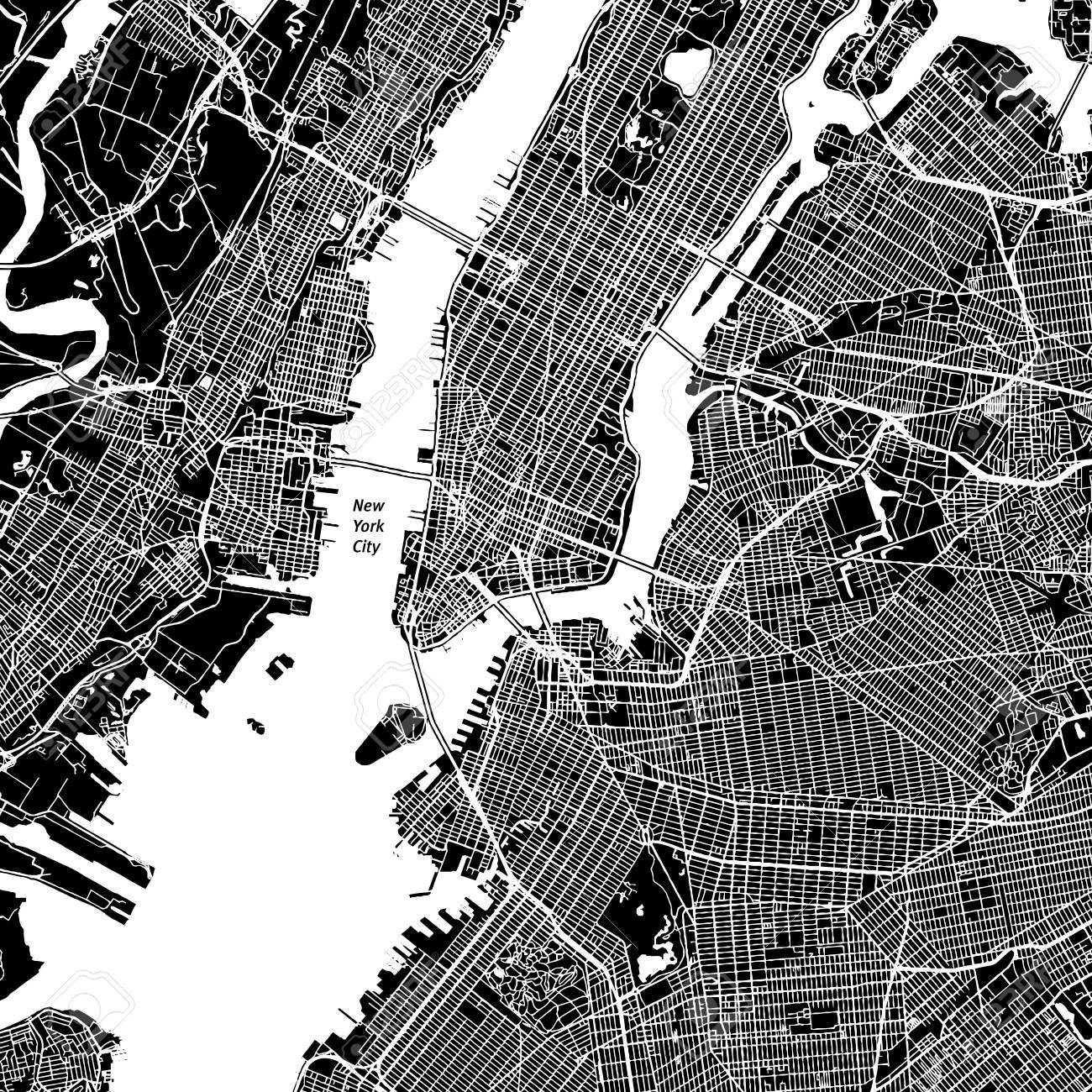 New York City, New York. Downtown vector map. City name on a separate layer. Art print template. Black and white. - 86155406